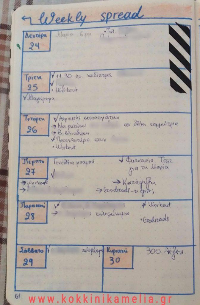 Εβδομαδιαία καταγραφή στο bullet journal